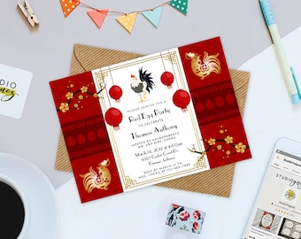 """Red Egg Printable 7"""" x 5"""" Invitation, Red Egg and Ginger Printable Invitation, Red Egg and Ginger Party"""