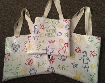 Kids Scribble Oilcloth Tote Bag