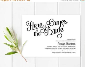 SUMMER SALE Unique, black and white, bridal Shower Invitation | nontraditional, bridal shower invitation, modern, contemporary, simple, diam