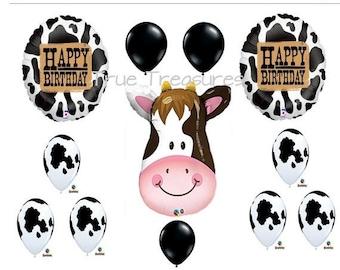 ON SALE COW Print 12 Piece Balloon cowboy Set Qualatex Balloons Happy Birthday Holstein Cow Balloons Farm animal Party