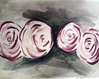 Roses on dark background original watercolor painting