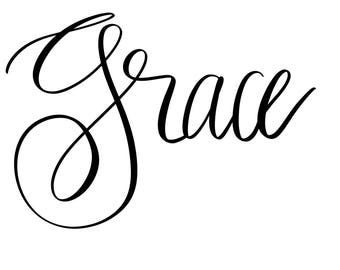 grace handlettered SVG cut file for Cricut or Silhouette