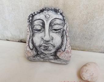 Buddha stone art painted rock unique home decoration, rustic decor, meditation room, ashram yoga feng shui garden waterproof Australian gift
