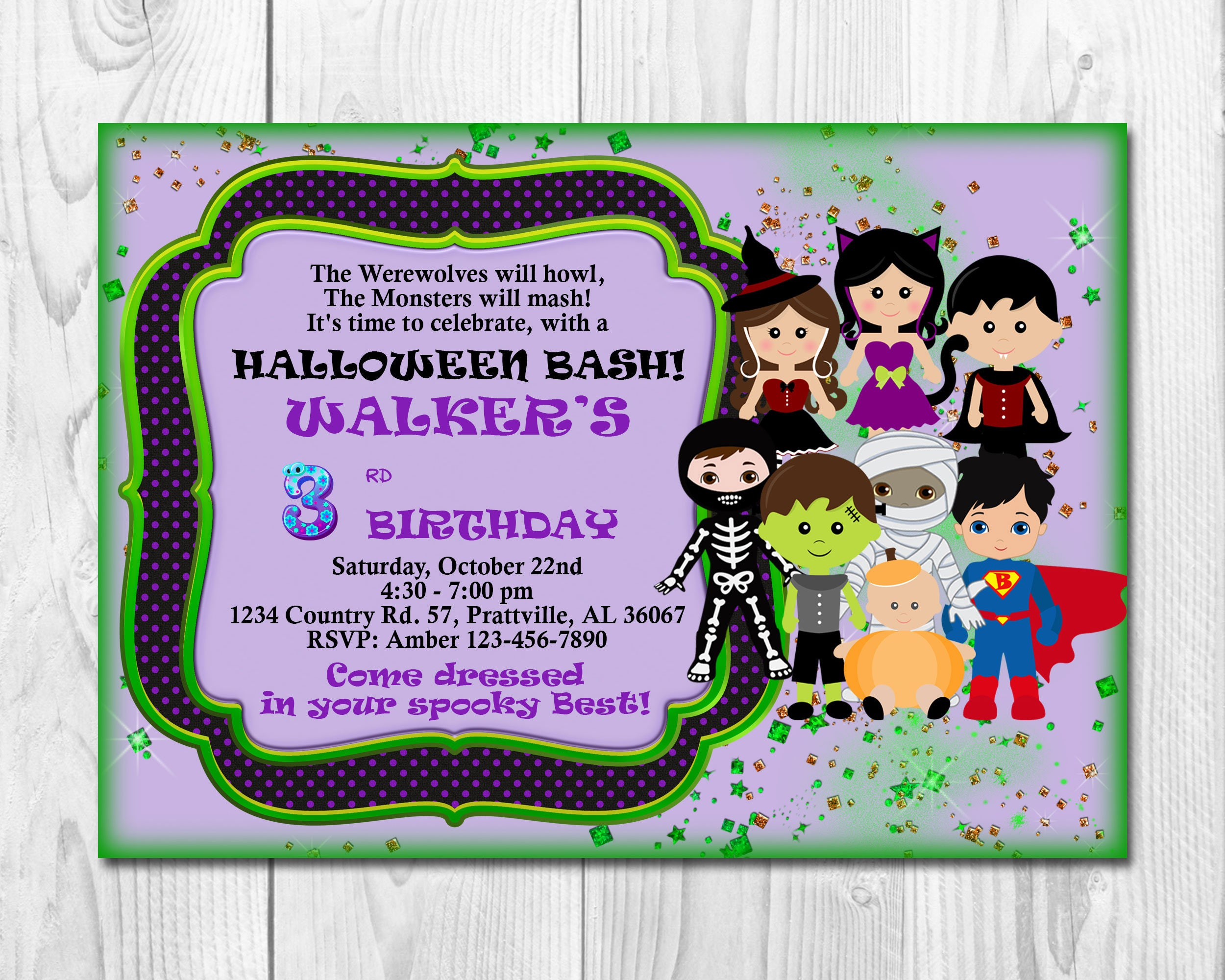 HALLOWEEN Invitation Kids, PRINTABLE Halloween Birthday Invitation ...