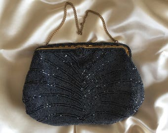 Lovely Vintage Black Beaded Evening Purse, Made in France. Very good condition