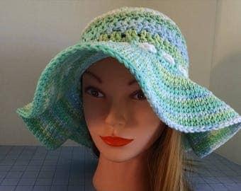 Handmade Crochet Alternative Mesh Sun Hat with Floppy Brim. Garden hat, Beach hat, Women's Sun hat, Crochet Cord tied at Back with a Bow.