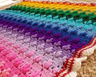 Crochet Afghan Rainbow Handmade Throw 60/80 Inches Crochet Throw Crochet Blanket bedspread crochet cover groovy hippie funky MADE TO ORDER