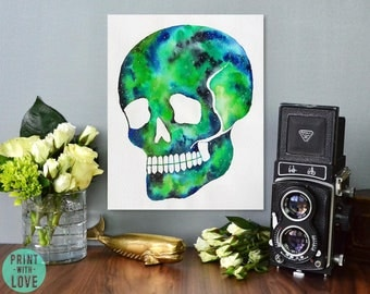 Goth Style Skull Silhouette Watercolor Galaxy Painting Print with Green and Blue with Stars