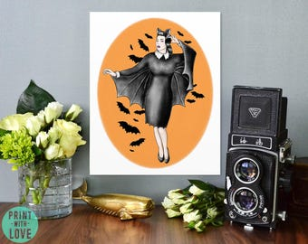Vintage Tattoo Flash Style Halloween Retro Pinup Girl Bat Queen Goth and Punk Decor Illustration