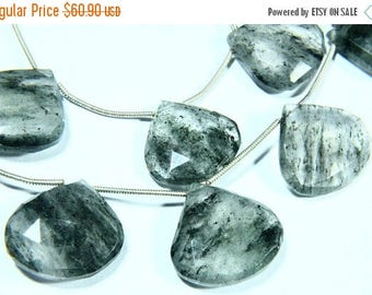 """65% OFF SALE 7.50"""" Full Strand Moss Quartz Gemstone Briolette, Faceted Heart Shape, Size - 17mm to 20mm, Gemstone Beads, Natural Stone"""