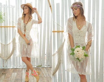 Romantic Lace Floral Embroidered with Crochet Caftan Cover Up. Off-White Cover-Up. Bohemian Wedding Honeymoon. Boho Chic