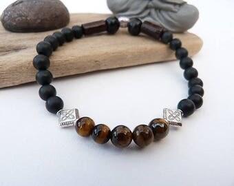 Men's bracelet or mixed ethnic Black Onyx matte and Tiger eye