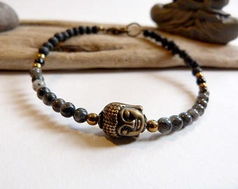 Gray unisex bracelet, lava stone and Labradorine.  ZEN AND ETHNIC
