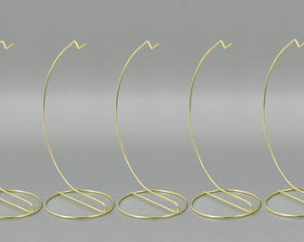 Brass Metal Ornament Stand Smooth  - 9 Inch High - Set of 6