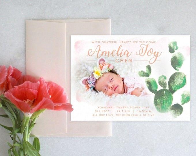 PRINTABLE Baby Announcement | Cactus Watercolor