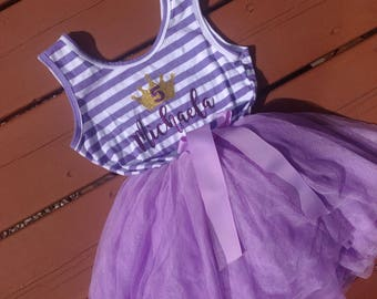 Purple Fifth Birthday Personalized Dress