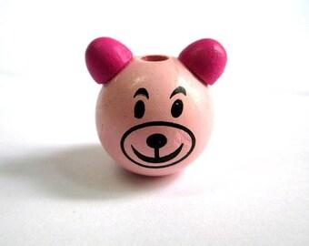 Wooden bead head bear 3D pink and fuchsia 28x25mm
