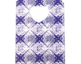 plastic handle 14x9cm purple patterned 10 bags