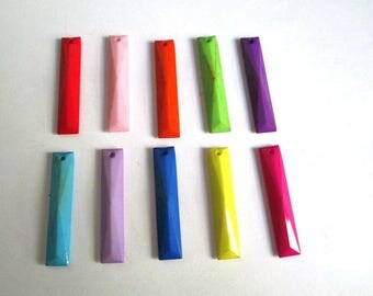 50 opaque one is rectangle faceted acrylic mix color 30x6x3.5mm