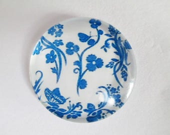 1 (4) 25mm blue flower printed glass cabochons