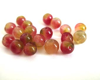 natural jade Burgundy and green 6mm 10 beads