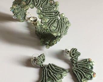 Sets Earrings and bracelet Celadon