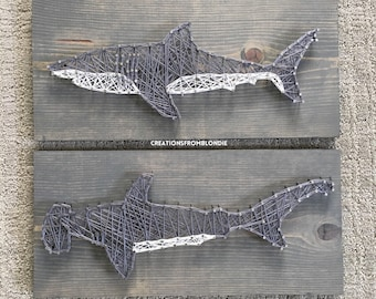 Shark, Great White, Hammerhead String Art Sign, MADE TO ORDER