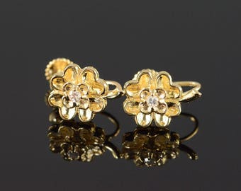 14k Diamond Lucky 4 Leaf Clover Screw Back Earrings Gold