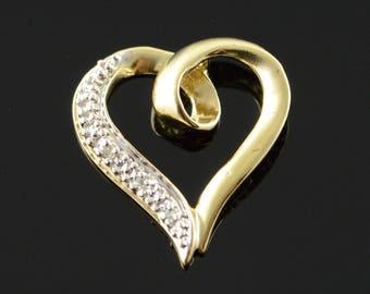 10k Genuine Diamond Heart Outlined Freeform Pendant Gold