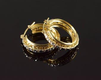 14k White Gold Accent Filigree Hoop Earrings Gold