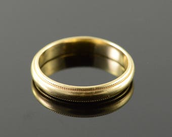 14k 3.7mm Milgrain Wedding Band Ring Gold