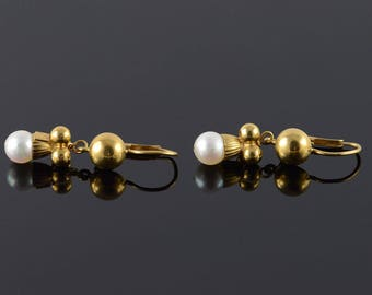 18k 6mm Pearl Fancy Dangle Earrings Gold
