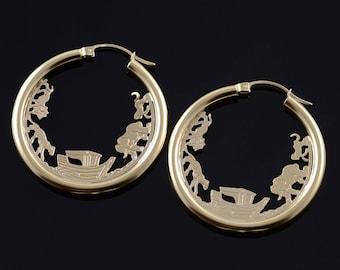 14k 35mm Hollow Hoop Circle Noah's Ark Animals Earrings Gold