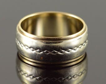 14k 7.8mm Infinity Scroll Two Tone Wedding Band Ring Gold