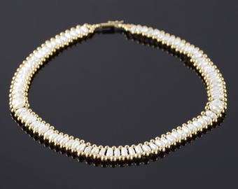 14k 12mm Wide Mother of Pearl Hollow Ball Necklace Gold 15.75""