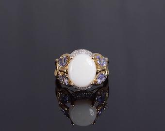 10k Opal Diamond Tanzanite Butterfly Motif Ornate Ring Gold