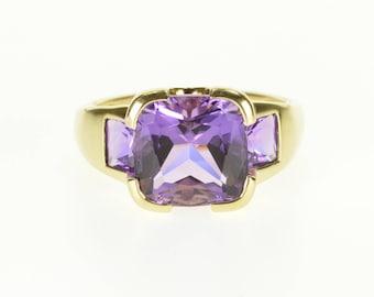 14k Amethyst Cushion Princess Cut Three Stone Ring Gold