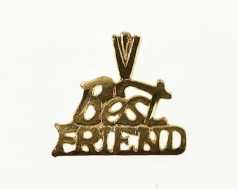 14k Best Friend Cut Out Word Friendship Pendant Gold
