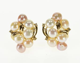 14k White Pink Pearl Cluster Diamond French Clip Earrings Gold