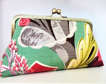 """1940s Abstract Gray Pink Floral on Mint Ground Vintage Barkcloth Fabric 8"""" Antique Brass Frame Clutch Wristlet Crossbody Shoulder Bag Purse"""