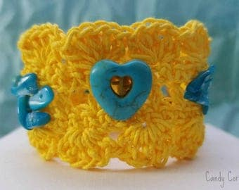 """Hand made Braided Crochet Bracelet - """"Candy Corn"""" from my Sweet collection - Cuff Yellow Bracelet"""