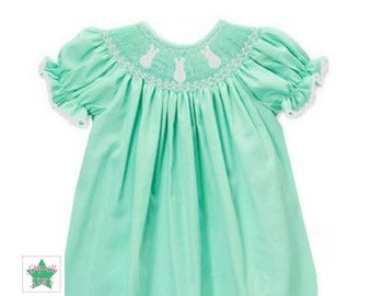 Smocked Bunny Bishop Dress, Smocked Easter Dress, Girls Easter Dress