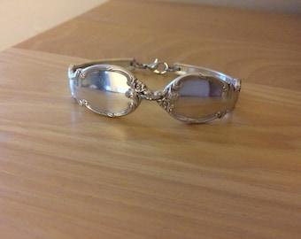 Reflection spoon bracelet silver plated, magic mirror bracelet