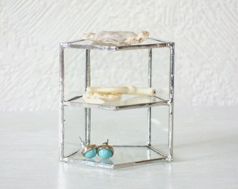Small Geometric Glass Display Case ‹› Jewelry Display ‹› Mineral Display ‹› Pentagonal Prism ‹› Silver ‹› Lead-Free