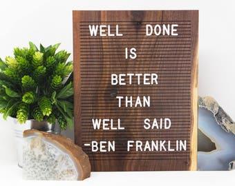 Wooden Letter Board 9x12 - Walnut -  Letterboard, Message Board, Felt Board, Modern Farmhouse, Modern Cabin, Natural, Organic, Handcrafted