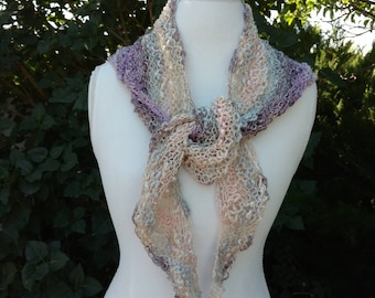 Victorian Lace Scarf, Boomerang Scarf, Triangle Scarf, Lavender Scarf, Cotton Scarf,  Women's Scarf, Teen Scarf, Pink Scarf,