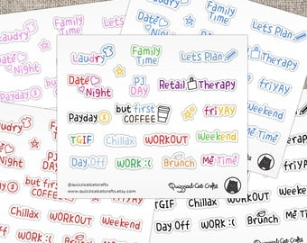 Planner words stickers // Multi colour words and phrases for decoration