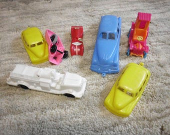 7 Vintage Plastic Toy Cars Wannatoy JVCCo Mattel and Others 1950s 1960s Bright Intact