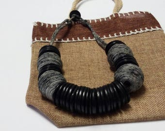 Black Hand Dyed Coconut Shell Buttons, Womens Organic Bead Necklace, African Recycled Necklace, One Strand Coconut Wood Beads Jewellery