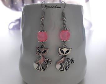 Pink cat earrings,
